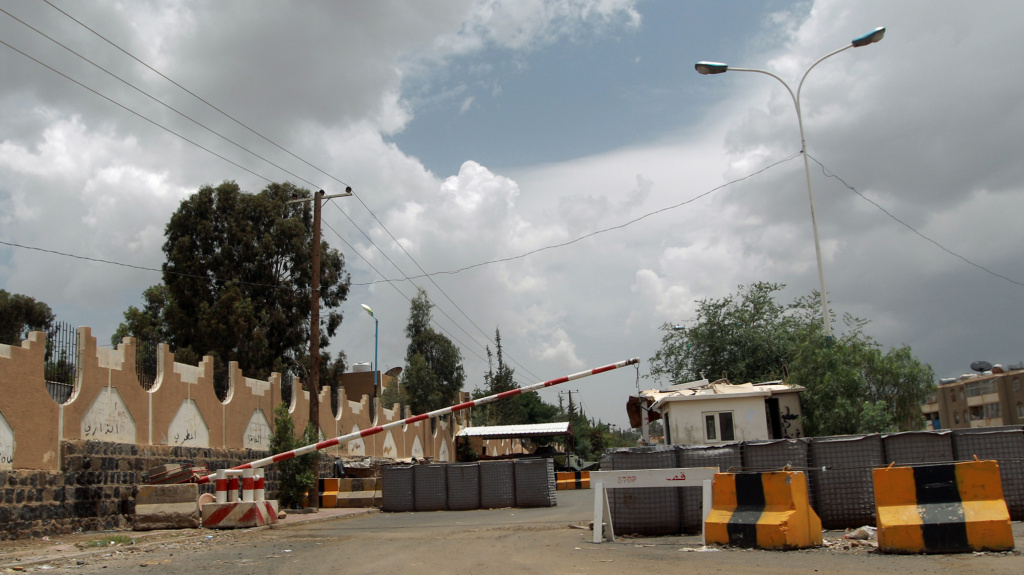 A checkpoint leading to the closed U.S. embassy compound in the Yemeni capital Saana on Saturday.