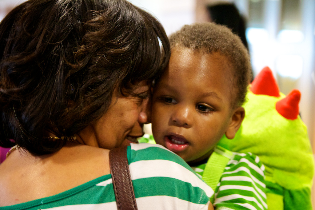 Cherissi Boyd holds her soon to be adopted son, Isaiah, moments before finalizing the adoption.