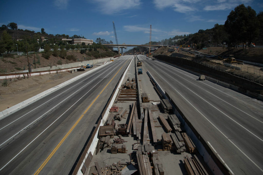 A mile-long stretch of the I-405 freeway in West L.A. that was closed as part of the Sepulveda Pass Improvements Project.