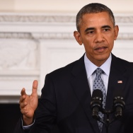 US President Barack Obama speaks during a press conference at the White House in Washington, DC.