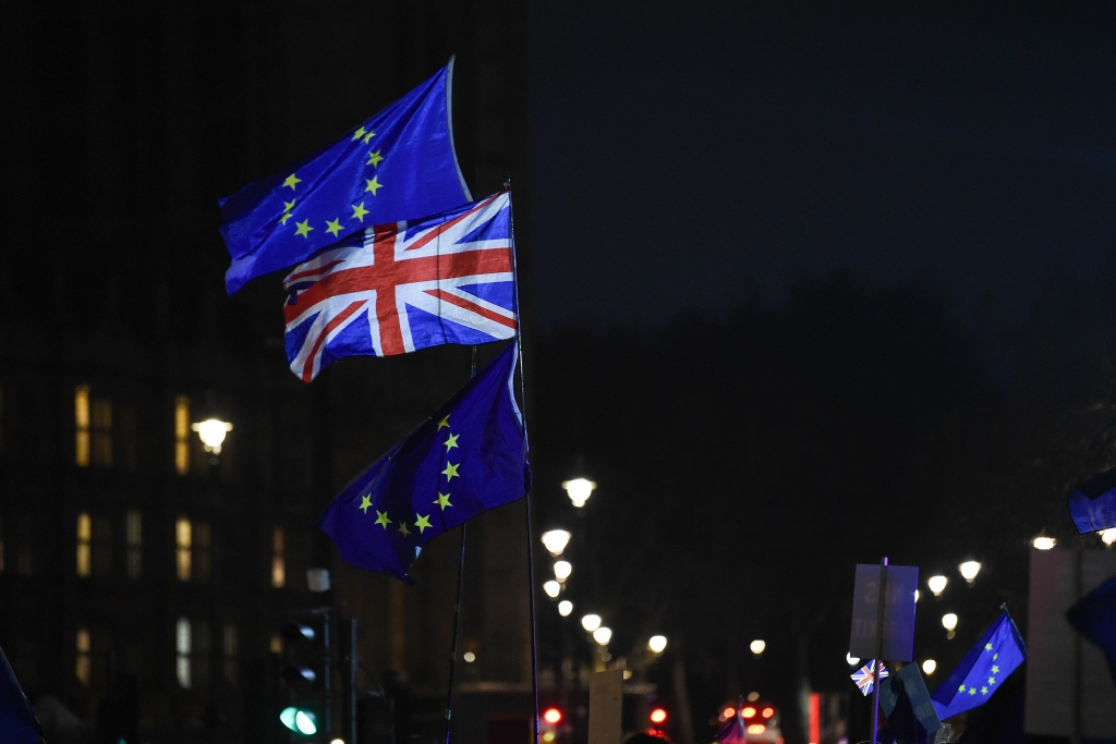 Protesters with Union Flags and EU flags are seen outside the Houses of Parliament in central London on January 15, 2019.