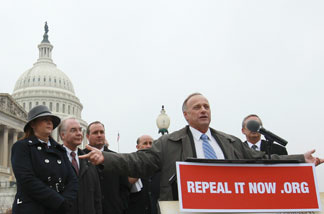 Rep. Steve King (R-IA) speaks at a news conference where Republican members of the House displayed petitions Americans have signed demanding the repeal of healthcare legislation Jan. 18, 2011 in Washington, DC. Republicans begin their efforts to repeal the Obama administration's healthcare legislation this week.