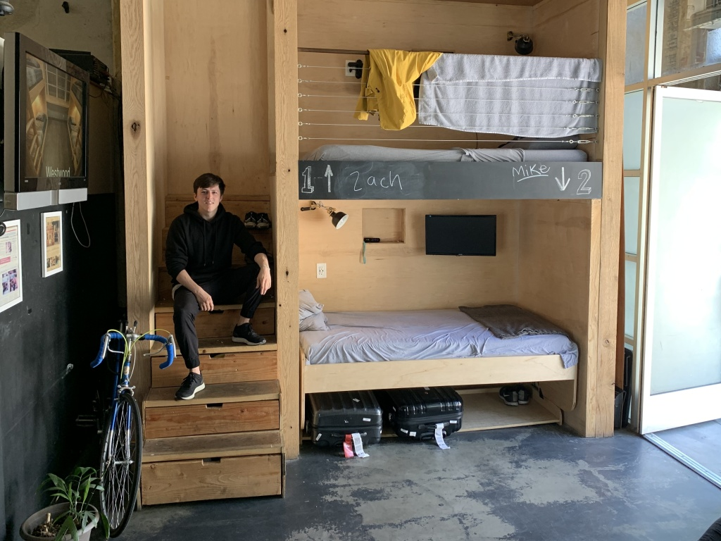 Steven T. Johnson rents a bed at the PodShare in Hollywood, Calif.