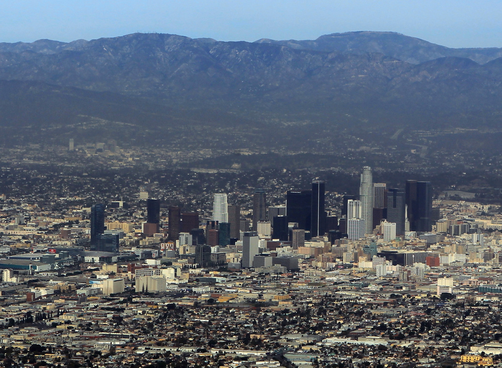 An aerial view of Los Angeles. According to an LA Times analysis, more than 1,000 aging buildings in LA County could be at risk of falling in a major earthquake.
