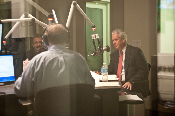 Candidates for Los Angeles City attorney, (from left) Carmen Trutanich, Mike Feuer and Greg Smith, face off in a debate in the AirTalk studios at the Mohn Broadcast Center on February 5.