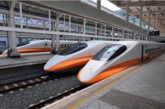 Trains of Taiwan's high-speed rail company rest at the platform at Zuoying station, south of Kaohsiung city, on September 22, 2009.