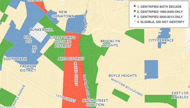 A gentrification map produced by UC Berkeley and UCLA shows areas where displacement and higher rents over tracts of time.