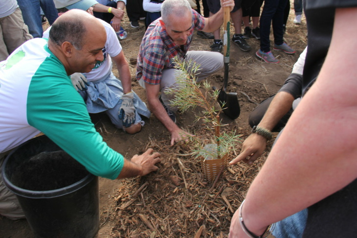 Councilman Mitch O'Farrell (center) and Board of Water and Power Commissioner William Funderburk help plant a tree in Elysian Park using a Land Life Company