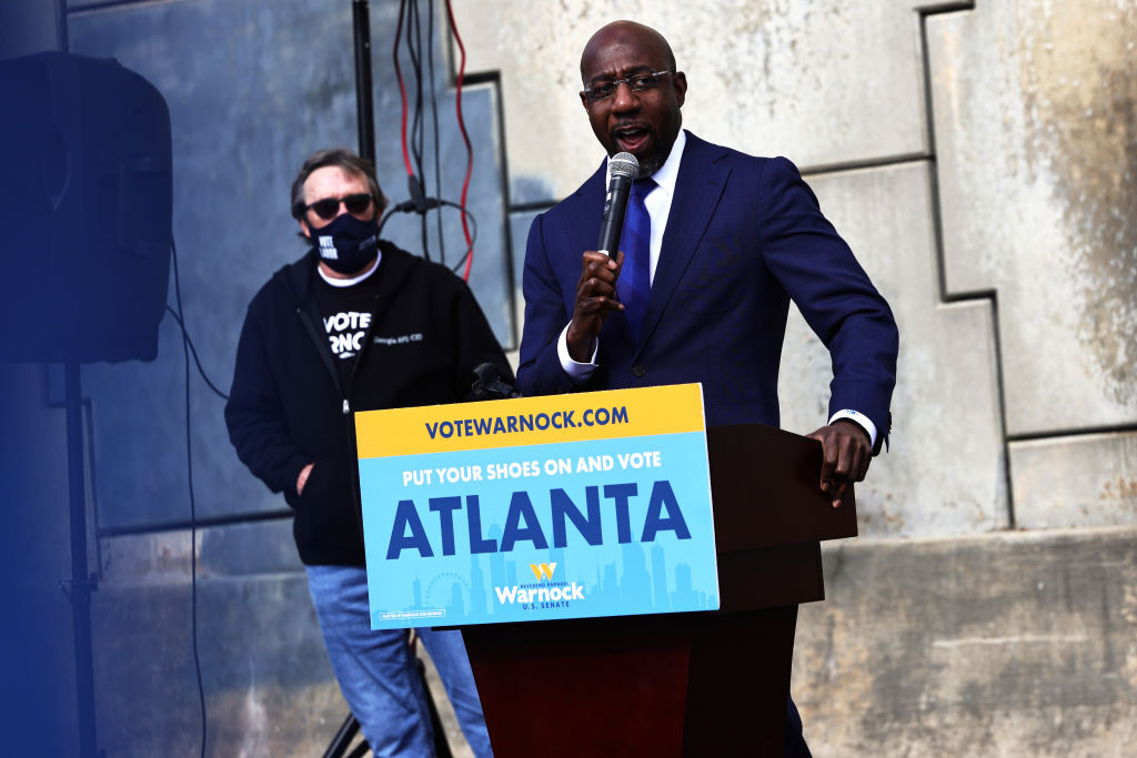 Georgia Democratic candidate Rev. Raphael Warnock speaks at his Labor Canvass Launch at IBEW Local 613 on January 05, 2021 in Marietta, Georgia.