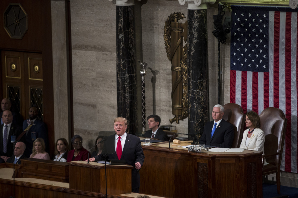 President Donald Trump delivers the State of the Union address in the chamber of the U.S. House of Representatives at the U.S. Capitol Building on February 5, 2019 in Washington, DC.