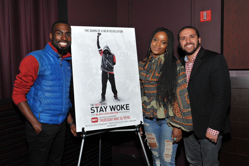 (L-R) Deray McKesson, Brittany Packnett, and Wesley Lowery attend the