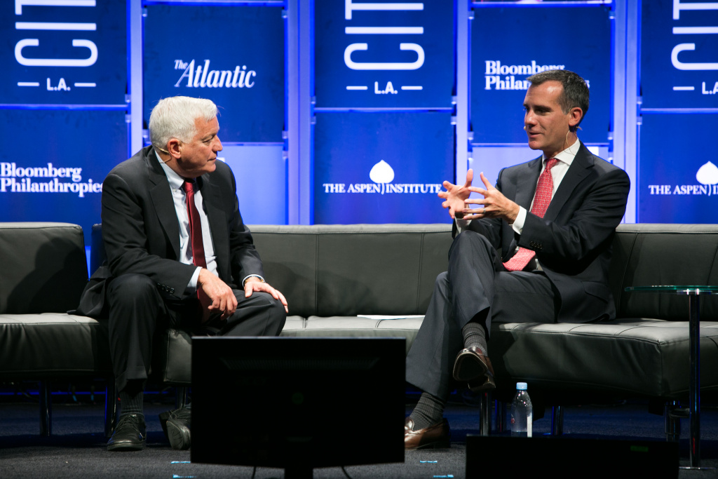 Walter Isaacson, president and CEO of The Aspen Institute, and Los Angeles Mayor Eric Garcetti talk at the 2014 CityLab conference on Monday, September 29, 2014.