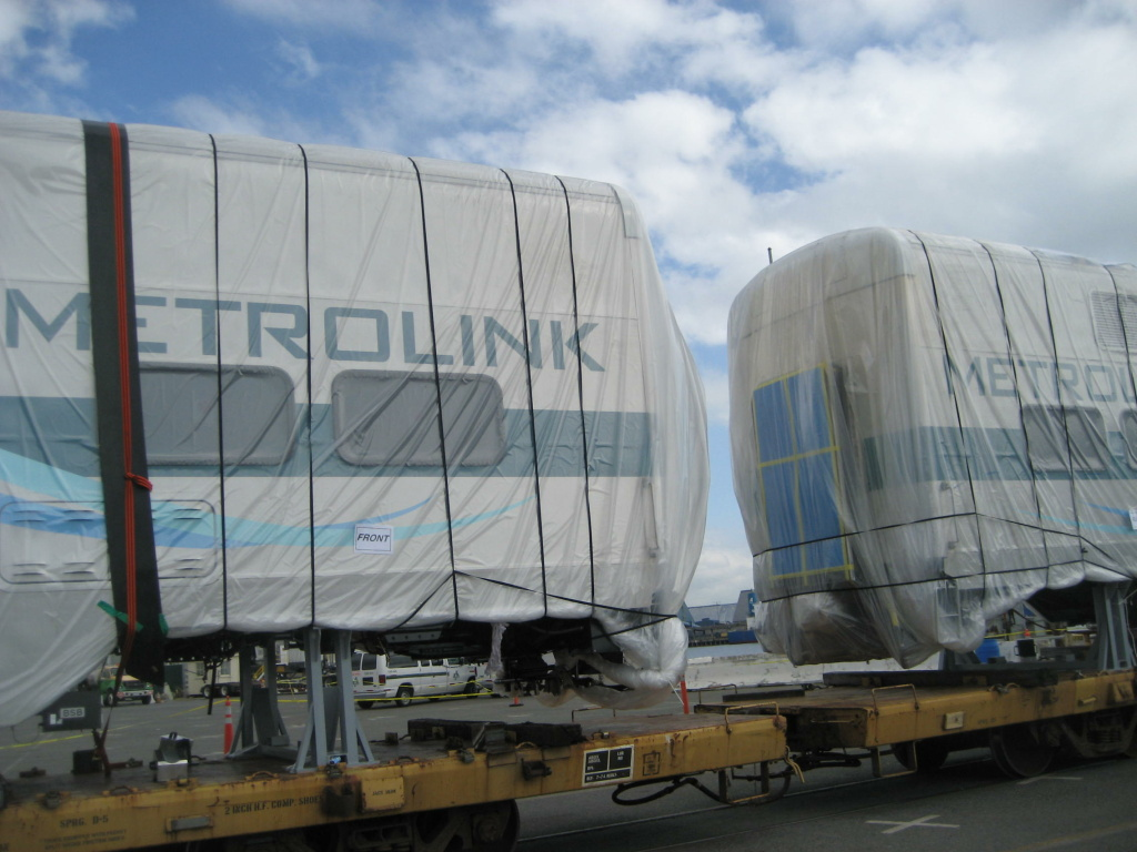 Metrolink's new train cars on Pier F at the Port of Long Beach.