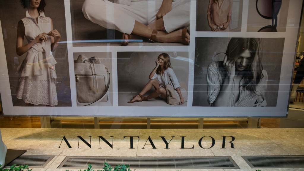 A sign is shown at an Ann Taylor store in New York City on May 18, 2015. Ascena Retail Group, which owns Ann Taylor, Loft and Lane Bryant, has filed for bankruptcy.