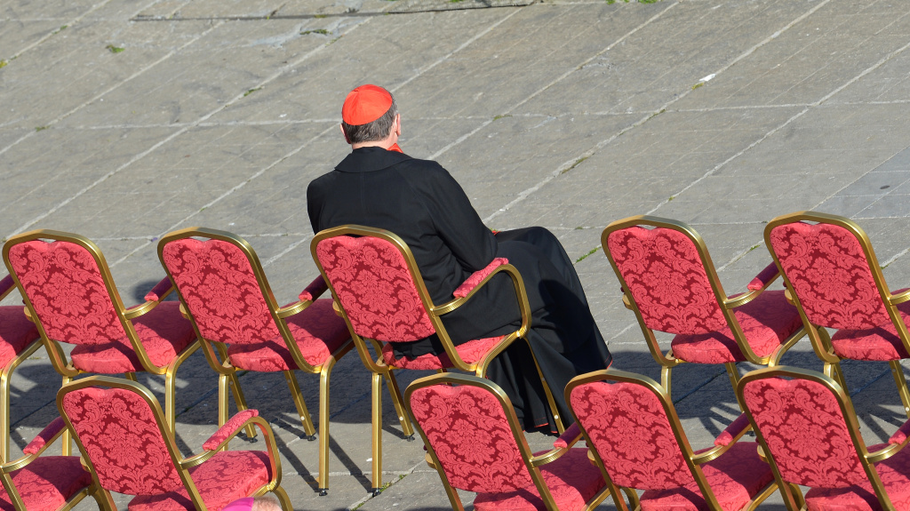 Retired L.A. Cardinal Roger Mahony, relieved of all administrative and public duties for mishandling child sex abuse claims against dozens of priests dating back to the 1980s, takes his place on St Peter's square ahead of Pope Benedict XVI's last weekly audience on Feb. 27, 2013 at the Vatican.