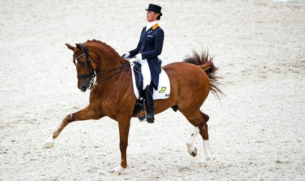 Dutch dressage rider Adelinde Cornelissen performs before winning the Grand Prix Special during the European Dressage Championships in Rotterdam.