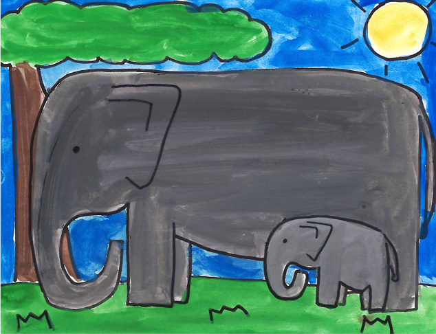 """""""Love Elephants"""" contest finalists from the LAUSD-IFAW-Adopt the Arts program. The contest was open to students in grades K-6 in the L.A. Unified School District."""