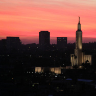 The Church of Jesus Christ of Latter-Day Saints in Los Angeles at sunset.