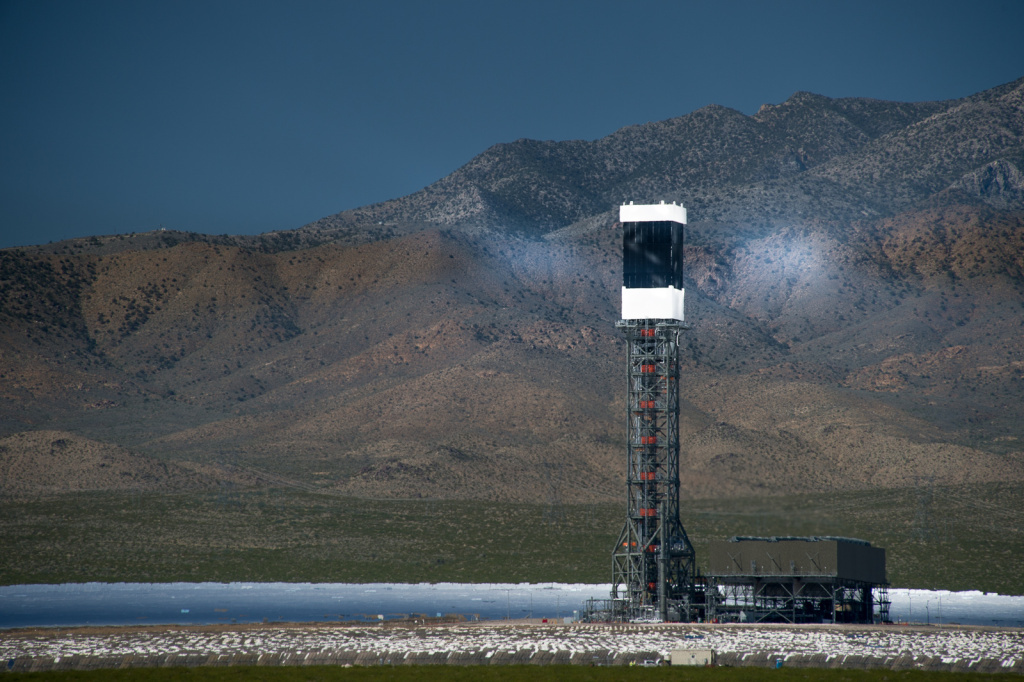 The Ivanpah Solar Electric Generating System, is a solar thermal power plant in the California Mojave Desert. It uses heliostat mirrors to focus solar energy on boilers located on centralized solar power towers.