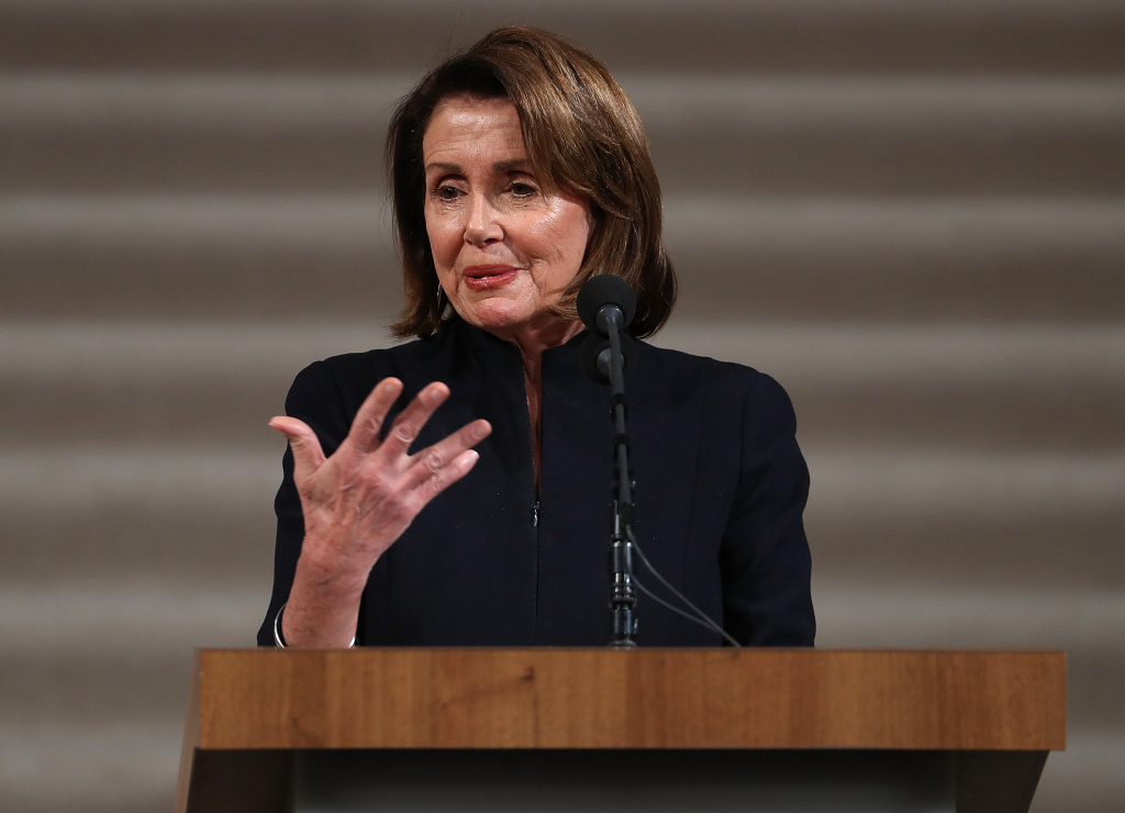 House Minority Leader Nancy Pelosi speaks during a Celebration of Life held for the late San Francisco Mayor Ed Lee on December 17, 2017 in San Francisco, California.