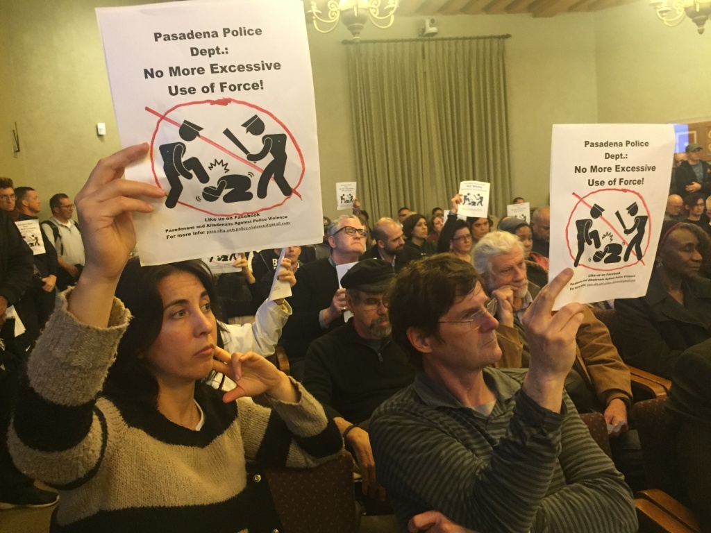 It was an overflow crowd at the Pasadena City Council meeting Monday night, where protestors expressed their anger at the police beating of Christopher Ballew during a traffic stop.