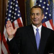 "House Speaker John Boehner, R-Ohio, left, performs a mock swearing in for Rep. Don Young, R-Alaska, on Jan. 3, as the 113th Congress began. On Friday, Boehner condemned Young, the second most senior Republican in the House, for using the term ""wetbacks,"""