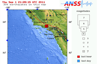 A map courtesy of USGS of the 4.3 and 2.6 magnitude earthquakes that rocked Los Angeles and the surrounding areas Thursday September 1, 2011.