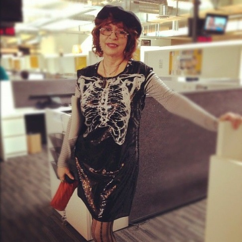 Patt Morrison in her spooky, yet stylish, Halloween outfit.