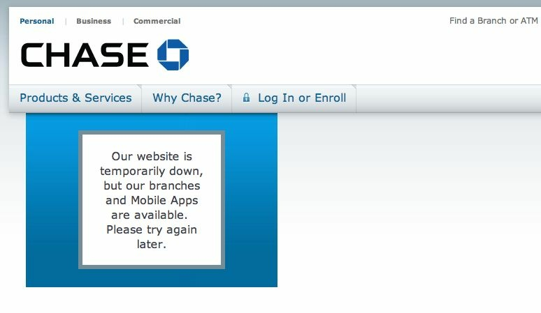 Chase Bank's website was taken down Tuesday, March 12, 2013 by a denial-of-service attack.