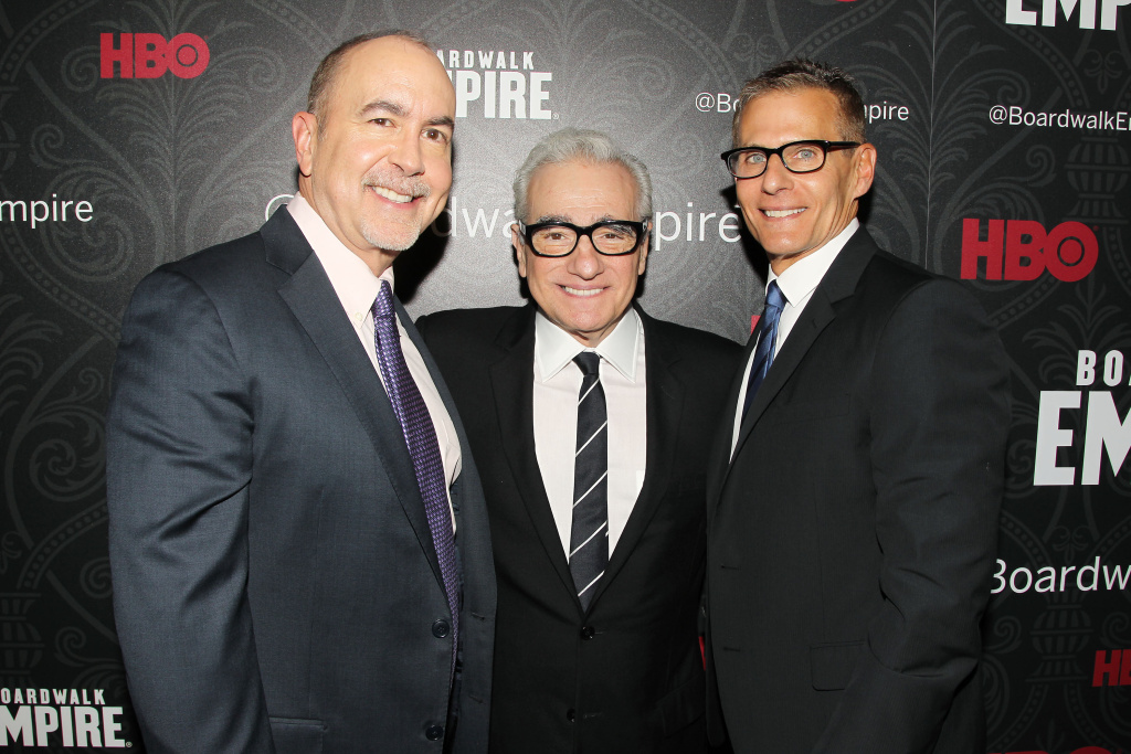 Terence Winter, Martin Scorsese and Michael Lombardo, President of Programming for HBO at the New York Premiere of the Fifth and Final Season of