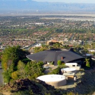 A view of the John Lautner house in Palm Springs