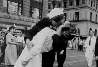 Image of VJ Day taken by U.S. Navy photographer Victor Jorgensen, who was standing next to Alfred Eisenstadt, photographer of the iconic photograph The Kiss.