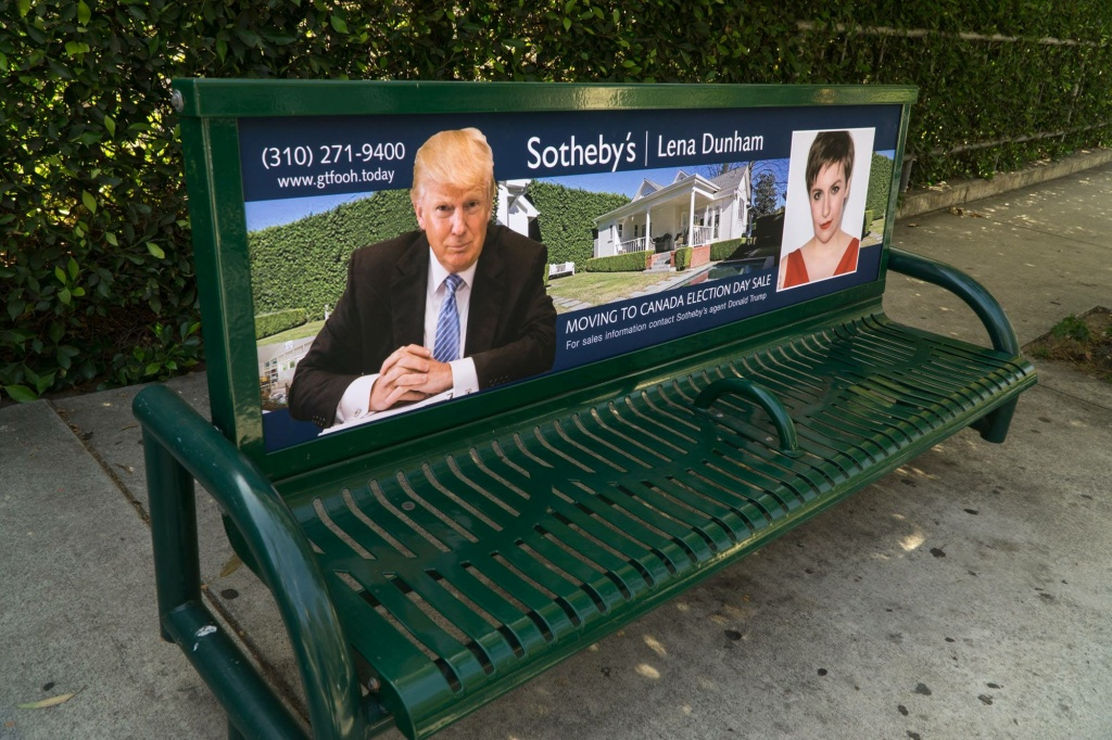 A fake bench ad created by conservative street artist Sabo.