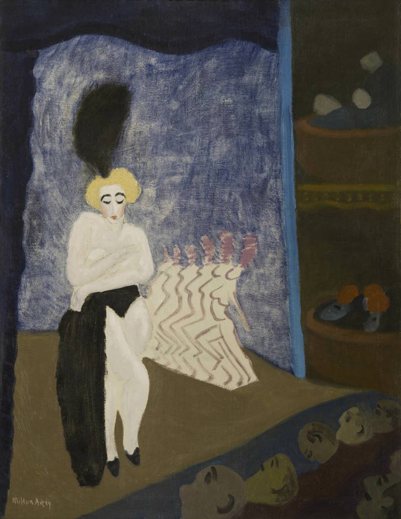 Milton Avery (1885–1965), Burlesque, 1936, oil on canvas, 36 × 28. The Huntington Library, Art Collections, and Botanical Gardens.