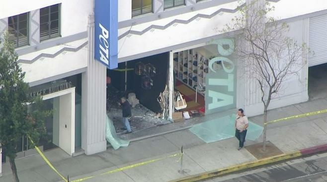 Los Angeles authorities say nobody was hurt when an SUV crashed through the front window of an office of the People for the Ethical Treatment of Animals.