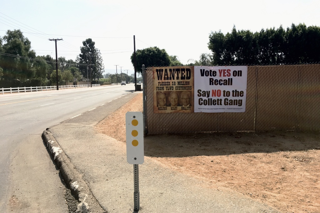 Campaign signs in Yorba Linda in favor of the 2016 recall election against Water District Board members Gary Melton and Bob Kiley