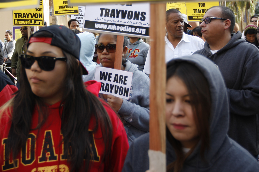 People rally to demand justice for the shooting of Trayvon Martin, on April 9, 2012 in Los Angeles, California.