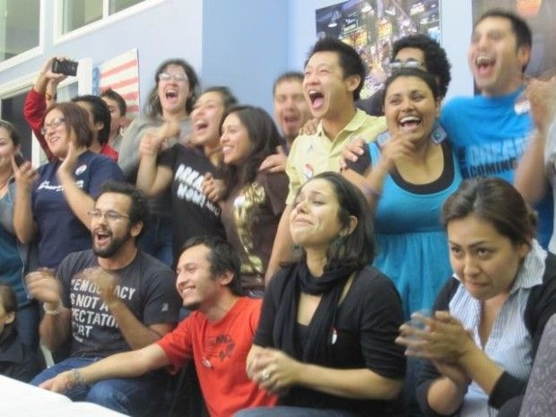 Students in Los Angeles react to news of the Dream Act victory in the House, December 8, 2010