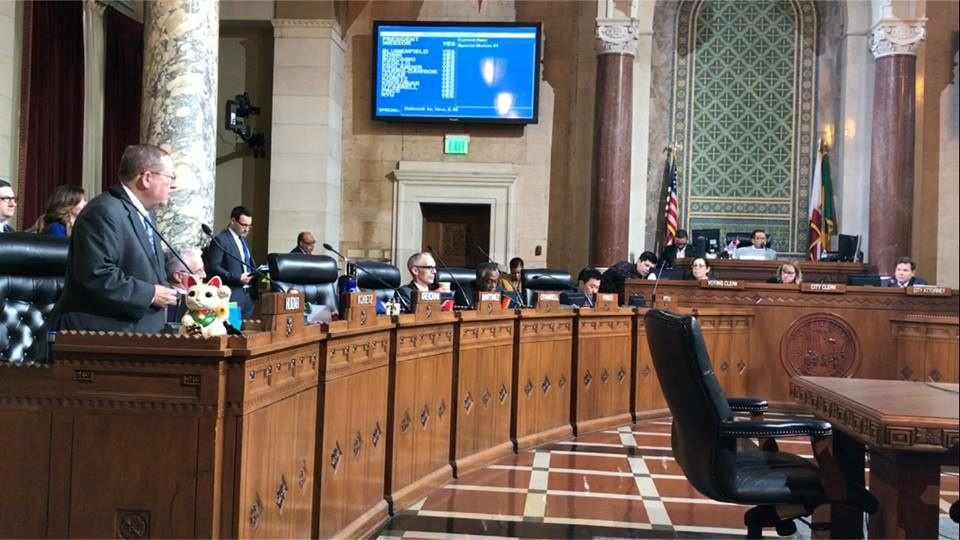 Councilmember Paul Koretz, 5th district, indtroduces his motion to review the legal standing of a mass eviction of LA seniors at Tuesday's city council meeting. Koretz said he imposed a special rule to accelerate the vote on his motion.