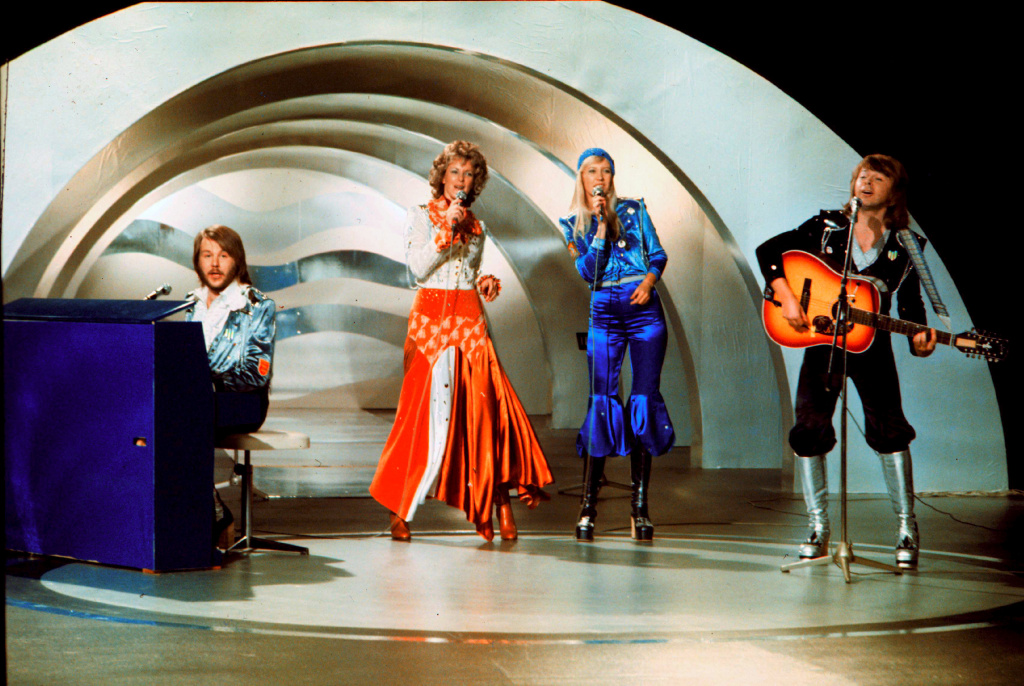 Swedish pop group ABBA performs during the the Eurovision Song Contest 1974 on Feb. 9, 1974 in Brighton with their song Waterloo. Abba won the Eurovision Song Contest in England with