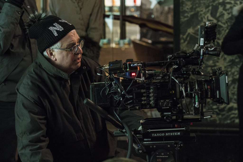Director Errol Morris on the set of