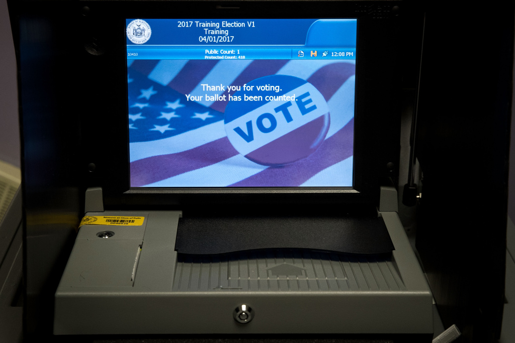 A view of a ballot scanner at a New York City Board of Elections voting machine facility warehouse, November 3, 2016 in the Bronx borough in New York City.