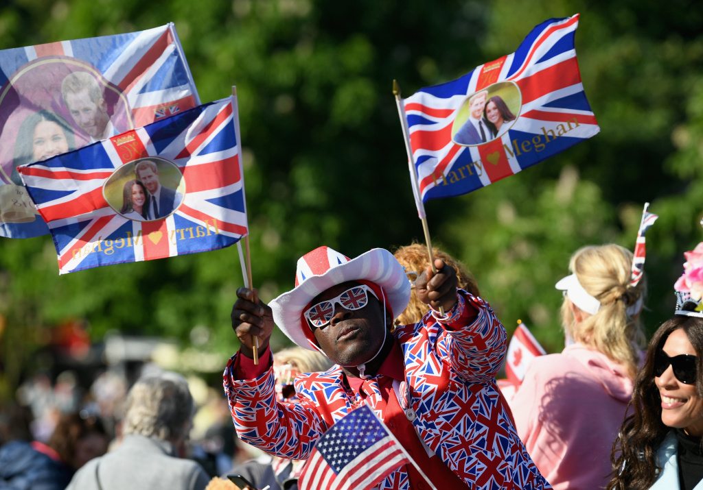 A spectator attends the wedding of Prince Harry to Meghan Markle at St. George's Chapel, Windsor Castle on May 19, 2018 in Windsor, England.