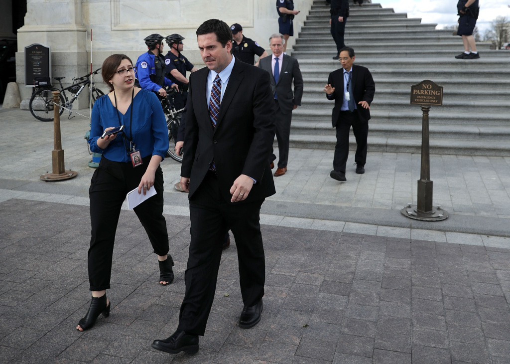 WASHINGTON, DC - MARCH 28:  House Select Committee on Intelligence Chairman Devin Nunes (R-CA) (C) leaves the U.S. Capitol after a series of votes March 28, 2017 (Photo by Chip Somodevilla/Getty Images).