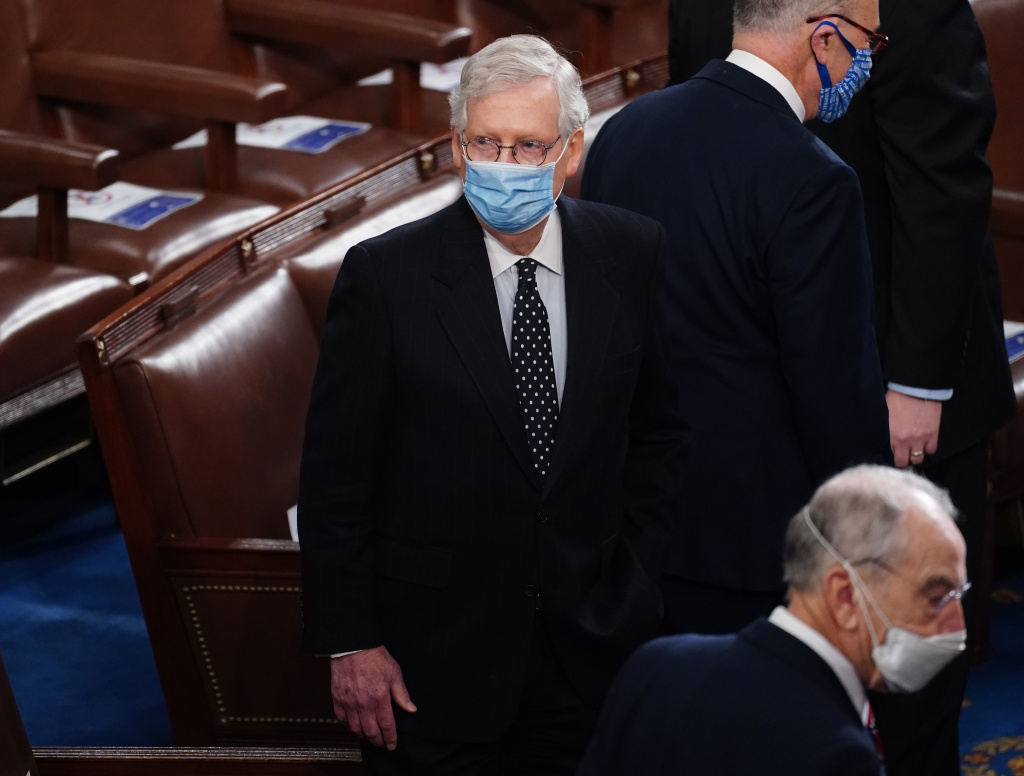 Senate Majority Leader Mitch McConnell arrives Wednesday for the Electoral College vote certification for President-elect Joe Biden during a joint session of Congress.