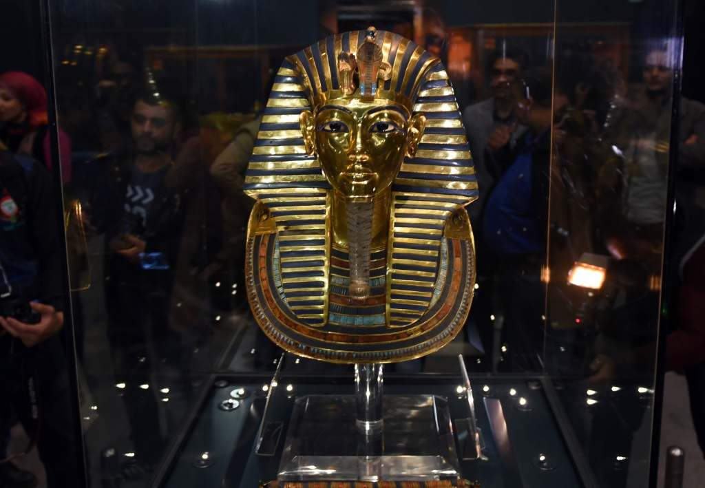 File: The golden mask of legendary Egyptian boy king Tutankhamun is displayed at the Egyptian Museum in Cairo after its restoration, on December 16, 2015.