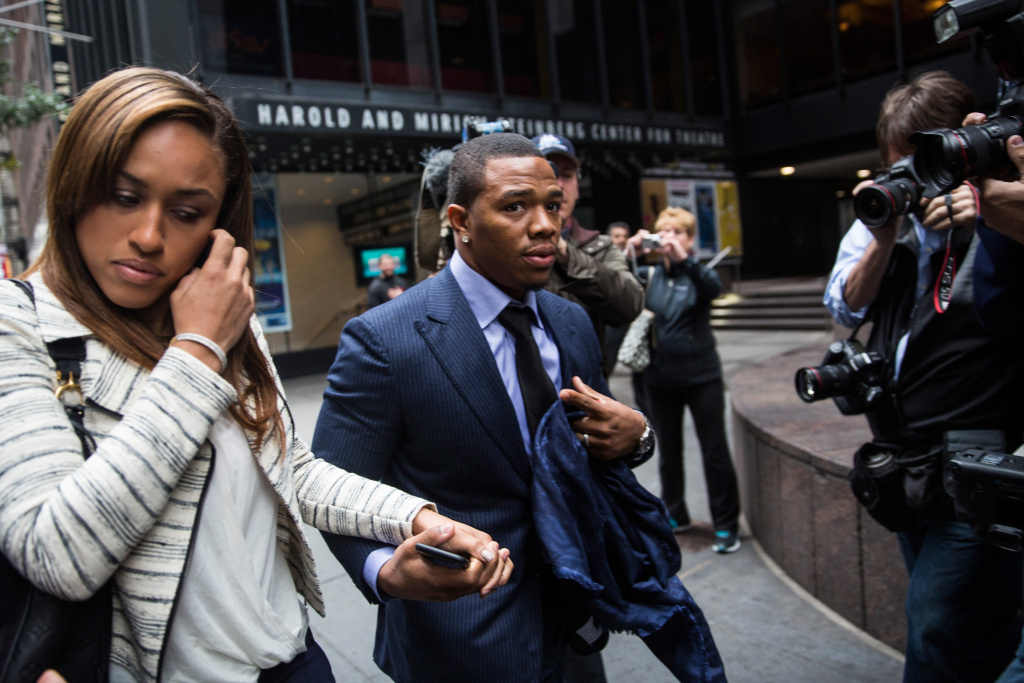 FILE: Baltimore Ravens football player Ray Rice (R) and his wife Janay Palmer arrive for a hearing on November 5, 2014 in New York City. In an interview with ESPN radio Friday, President Obama said