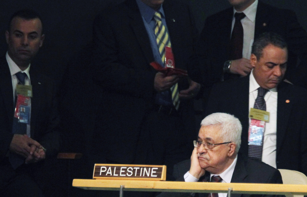 Palestinian President Mahmoud Abbas looks on during the United Nations General Assembly at UN headquarters on September 21, 2011 in New York City. The annual event, which is being dominated this year by the Palestinian's bid for full membership.