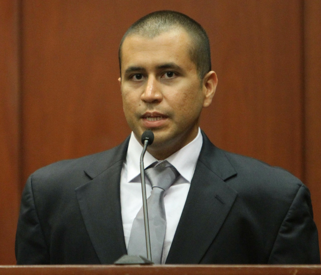 George Zimmerman takes the stand during his bond hearing for the shooting death of Trayvon Martin in Sanford, Florida, April 20, 2012.