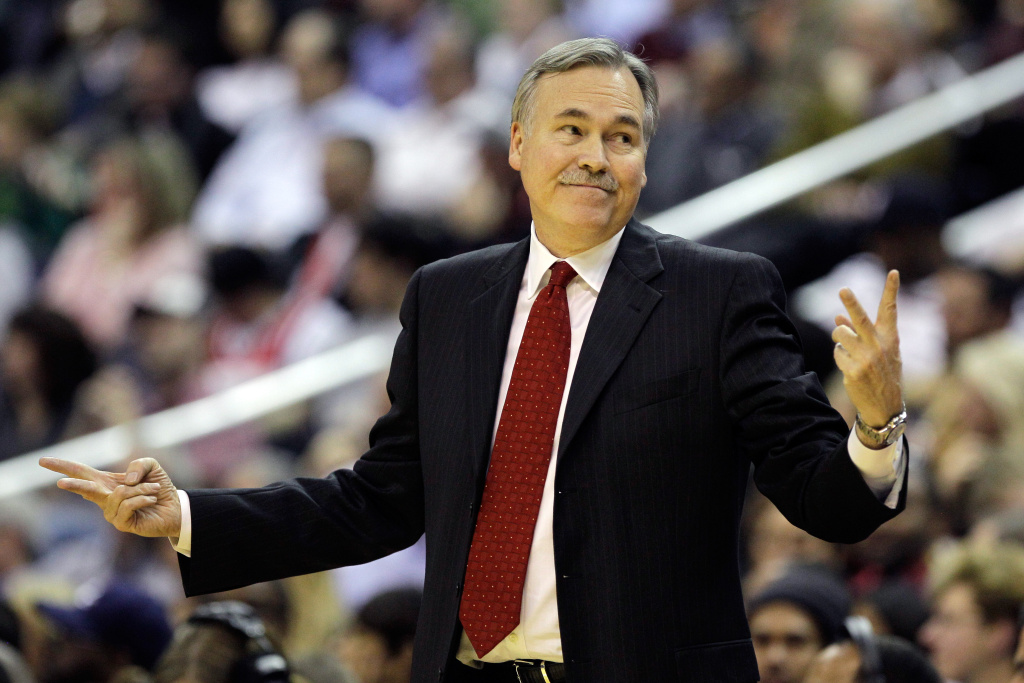 Mike D'Antoni reacts to an official's call during the first half of an NBA game at Verizon Center on January 6, 2012 in Washington, DC.